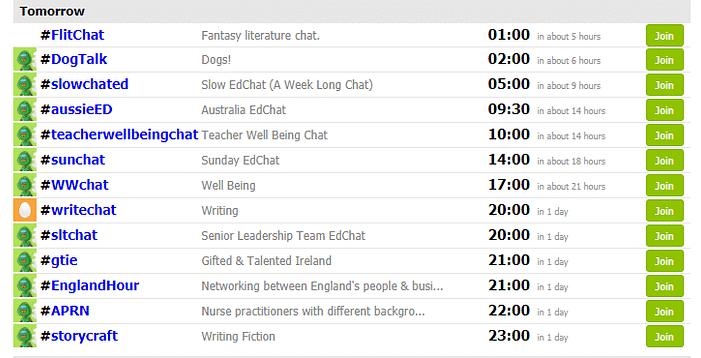 Twitter Chat Schedule