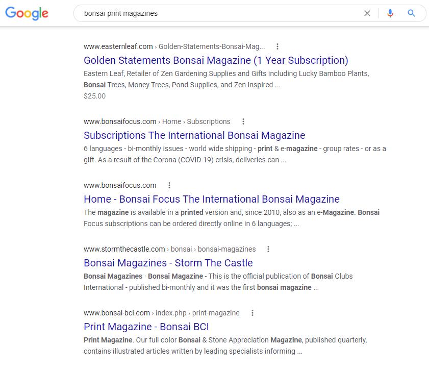 Google results for bonsai magazines