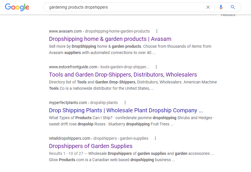 Google search results for gardening drop shipper