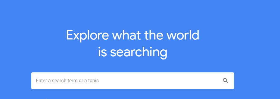 The Google Trends search page